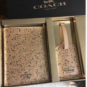 Coach Star Glitter Travel Set Passport Case & Tag